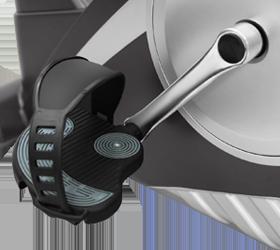 OXYGEN LINER Велотренажер - Трехкомпонентный педальный узел и рифленые педали с регулируемыми ремешками