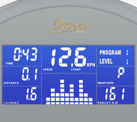 BRONZE GYM R801 LC Велотренажер - Голубой LCD дисплей с профилем тренировки