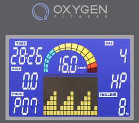 OXYGEN PLASMA III LC HRC Беговая дорожка - Многофункциональный дисплей с голубой подсветкой размером 6.5 дюйма (16.5 см.)