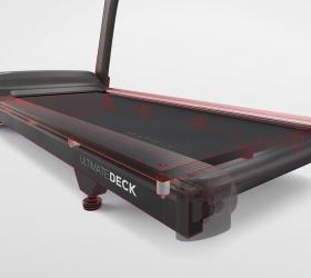 MATRIX TF50XR Беговая дорожка - Амортизация Ultimate Deck™ System включает супер прочную раму, увеличенную деку и 8 профессиональных амортизационных подушек для сверхдолгого срока службы