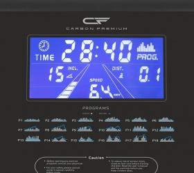 CARBON PREMIUM WORLD RUNNER T2 Беговая дорожка - Голубой многофункциональный LCD-дисплей диагональю 7 дюймов (18 см.) с профилем тренировки