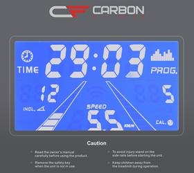 CARBON T656 Беговая дорожка - Голубой многофункциональный LCD дисплей с диагональю 4.9 дюйма (12.5 см.)