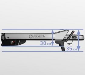 OXYGEN M-CONCEPT JOG Беговая дорожка - Толщина тренажера в сложенном виде составляет всего 35 см. (или 30 см. при условии снятия небольших поручней)