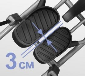 BRONZE GYM XE902 PRO Эллиптический тренажер - Расстояние между педалями (супермалый Q-Фактор E.S.Q.F.™) составляет всего 3 см.