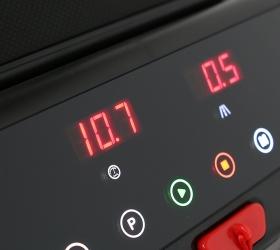 CARBON FITNESS T510 SLIM Беговая дорожка домашняя - Консоль с 4 буквенно-цифровыми LED-дисплеями и сенсорными кнопками управления