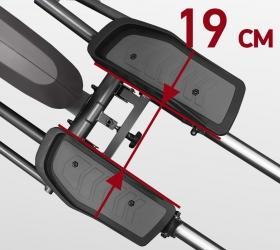 CARBON FITNESS F808 Эллиптический тренажер - Расстояние между педалями (Q-Фактор S.Q.F.) 19 см.