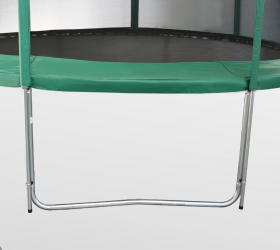 ARLAND Батут премиум 12FT с внутренней страховочной сеткой и лестницей (Dark green) - 4 устойчивые, оцинкованные W-образные опоры с порошковой окраской