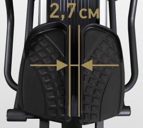 BRONZE GYM E1000M PRO TURBO Эллиптический тренажер - Расстояние между педалями (супермалый Q-Фактор) 2,7 см